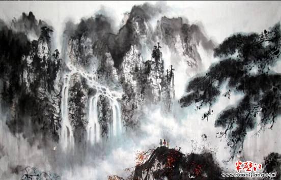 手绘彩铅意境画山